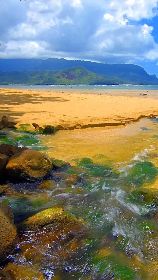 Bali Hai Stream Kauai Hawaii Beach Wallpaper