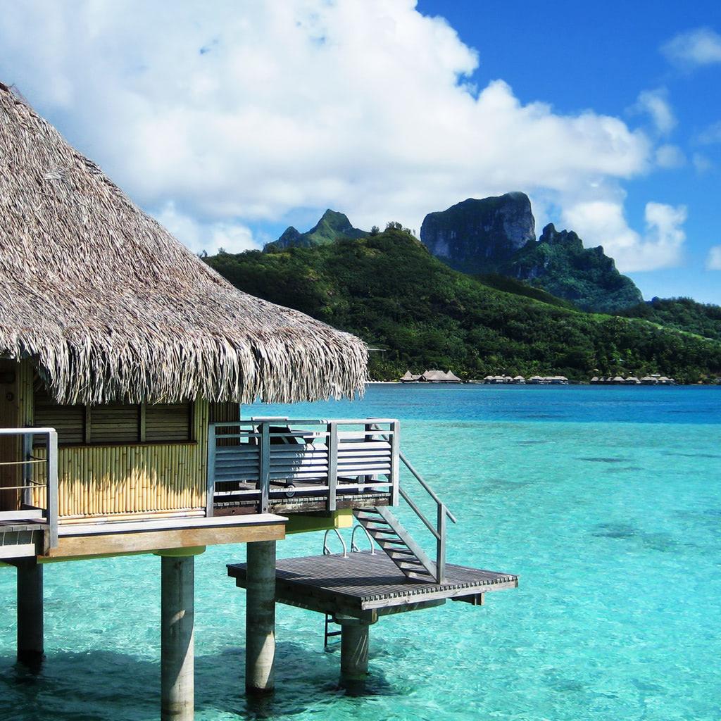 Bora Bora bungalow resort on the beach wallpaper  Beach