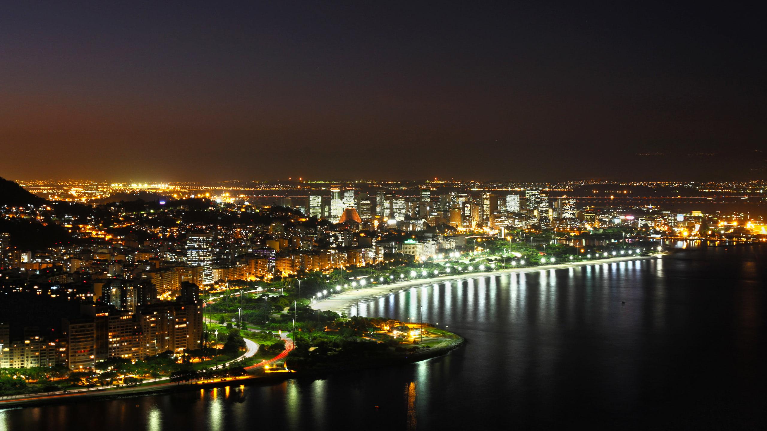 Exciting view of Rio de Janeiro at night wallpaper - Beach ...