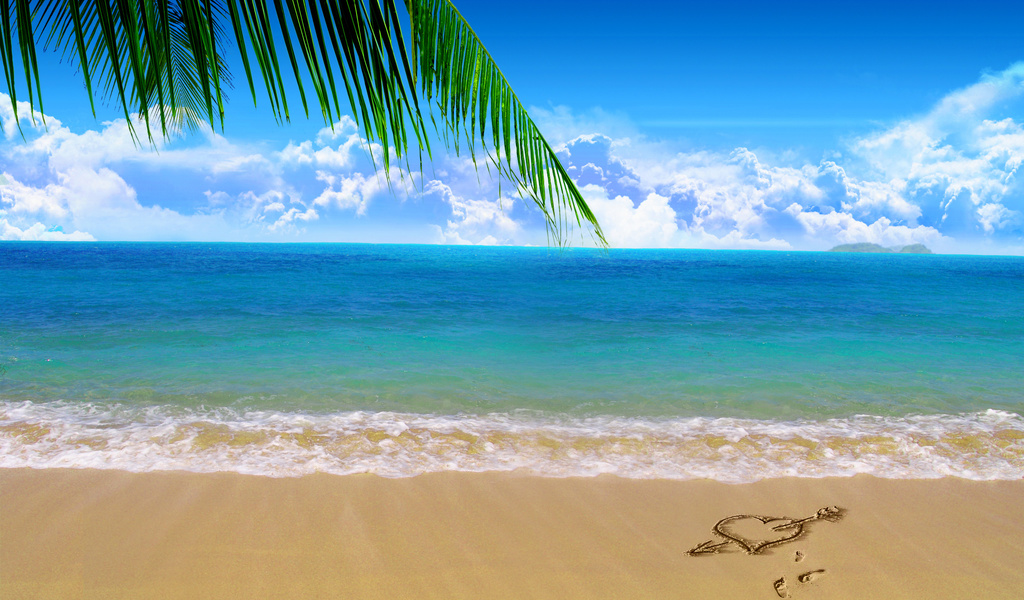 Love Heart On Beach Sand