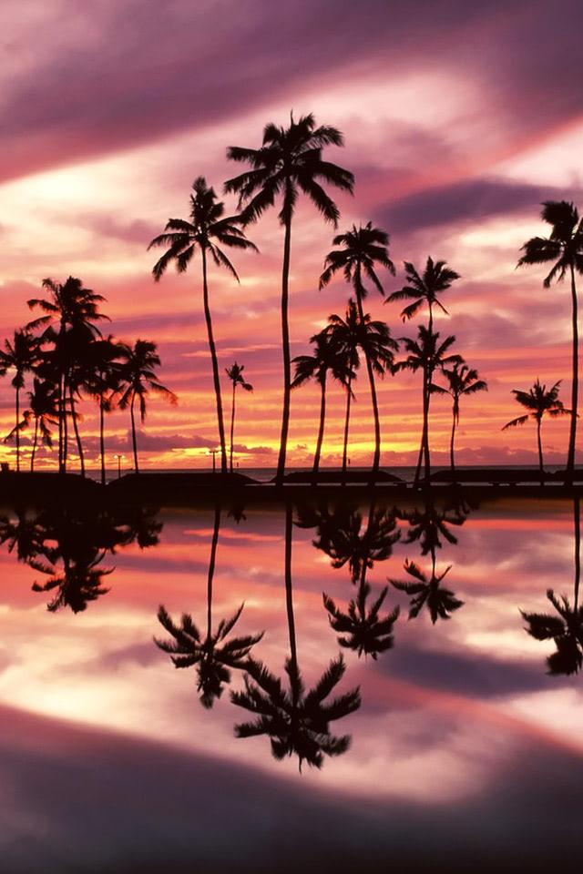 Sunset Over The Ala Moana Beach Park Honolulu Oahu Hawaii