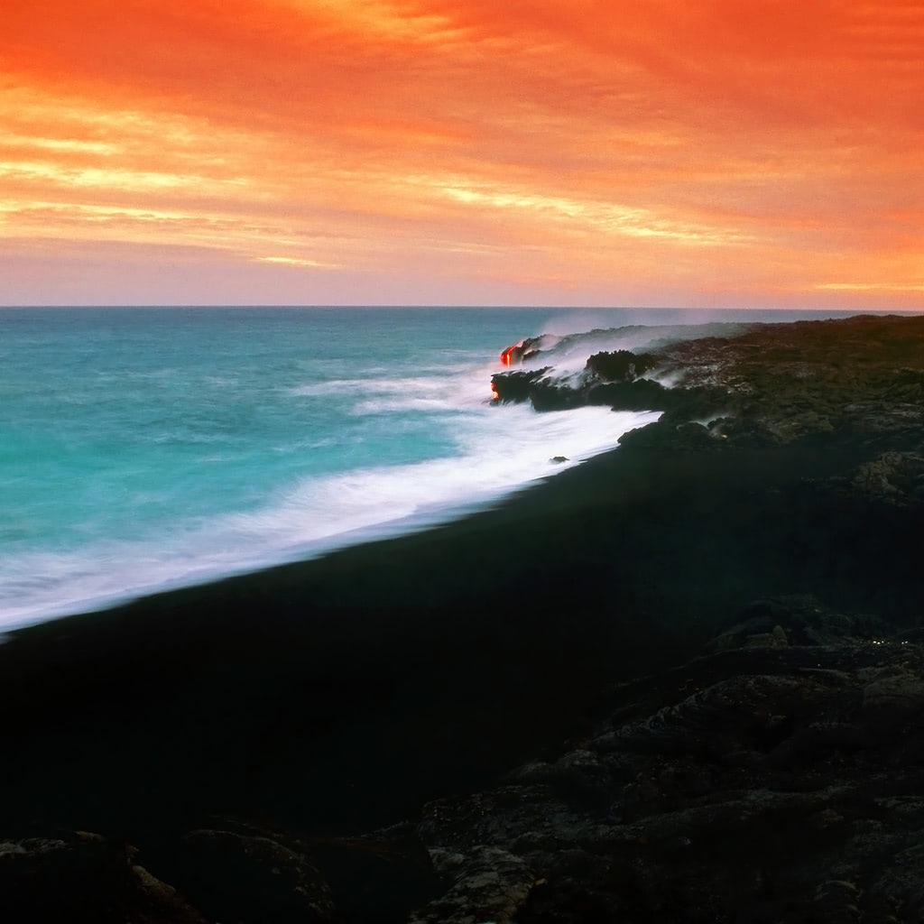 Sunset Over A Lava Fields In Hawaii Wallpaper