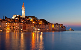 A breath-taking sky at the night in Rovinj, Croatia