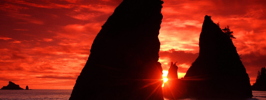 Eye-catching red sunset beach wallpaper