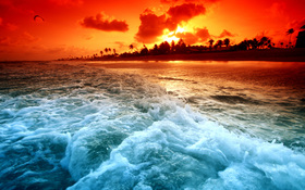 Magical ocean sunset wallpaper
