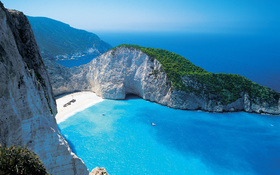 Shipwreck beach Zakynthos, Greece – wallpaper