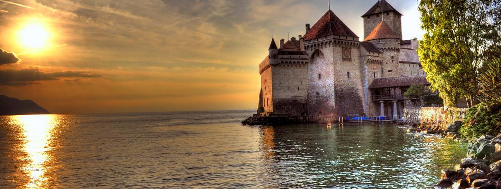 The charming beach of Chillon Castle, Lake Geneva