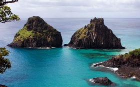 Two huge rocks in Fernando-de-Noronha archipelago, Brasil wallpaper