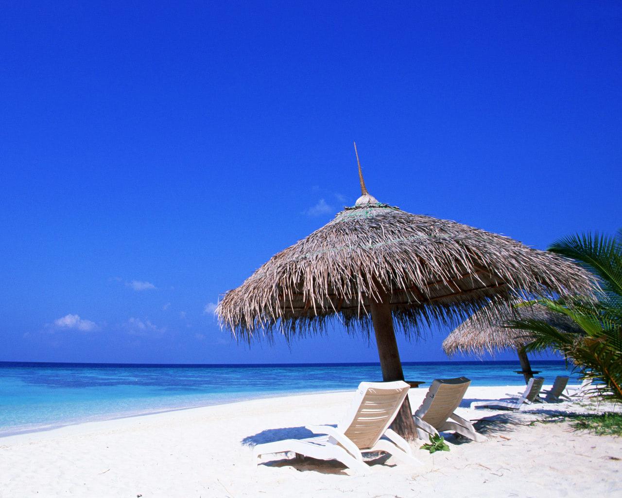 tropical sandy beach and blue ocean wallpaper - beach wallpapers