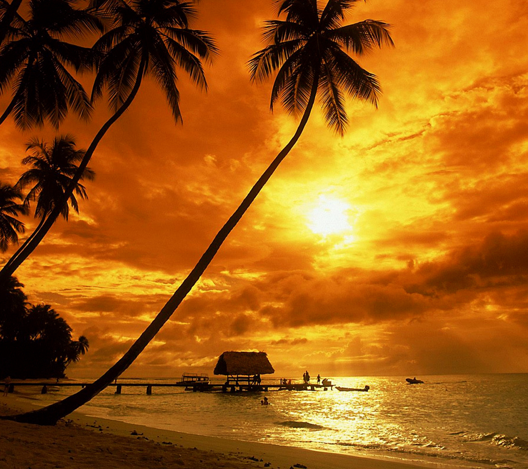 Island Beach Sunset: Tropical Sunset Wallpaper