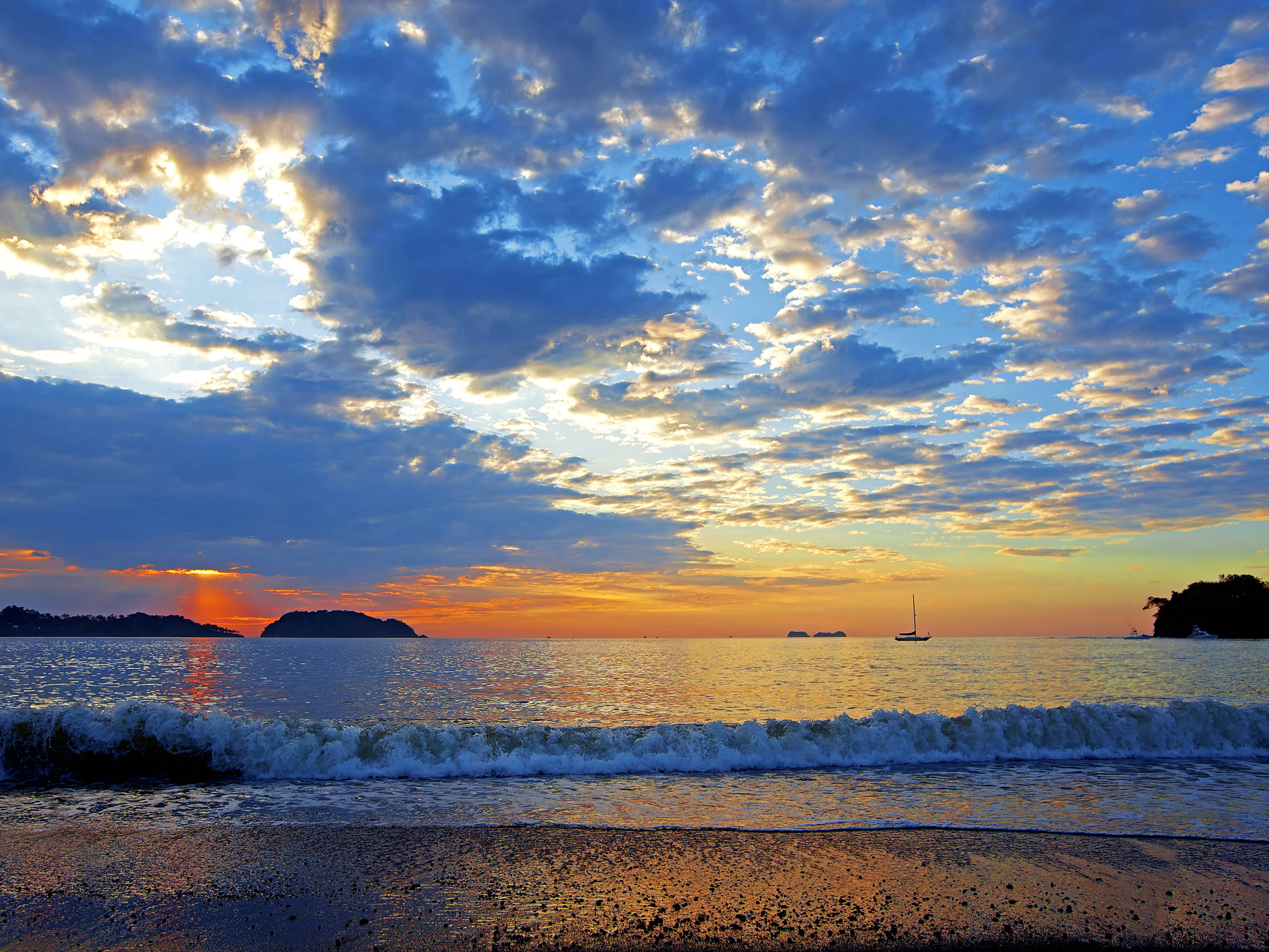 wallpaper of colorful sunset in the guancaste, costa rica - beach