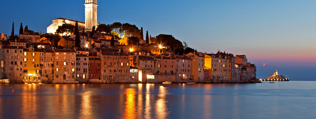 A breath-taking sky at the night in Rovinj, Croatia