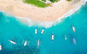 Aerial drone view of Helicopter Island, El Nido, Philippines