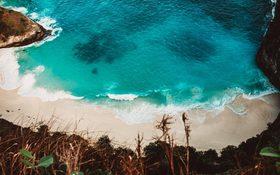 Aerial panorama over the Kelingking Beach, Indonesia