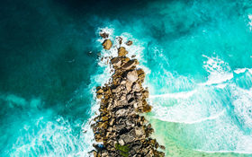 Aerial shot in La Digue, Seychelles