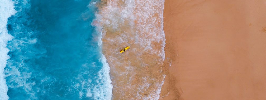 Aerial view of Bondi Beach coast, Australia