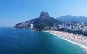 Aerial view of Rio de Janeiro's coastline, Brazil