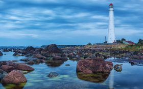 Amazing lighthouse on the beach of Hiiumaa island, Hiiu County, Estonia