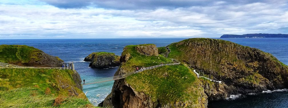 Beautiful coastal scenery and Carrick-a-Rede Rope Bridge in Ballintoy, Northern Ireland
