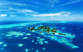 Beautiful view of 70 islands in Palau, the Pacific Ocean from above