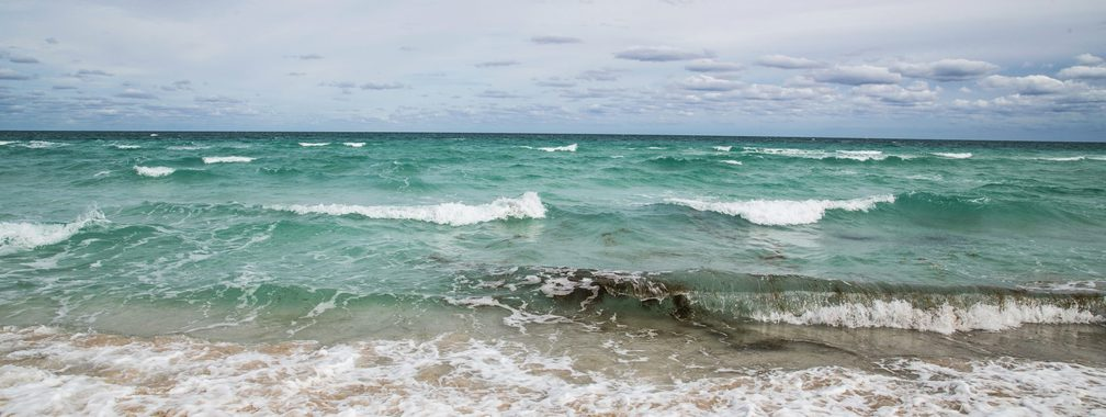 Beautiful waves of a sandy beach in Miami Beach, Florida
