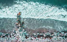 Beautiful waves of North Hampton Beach in Hampton, United States