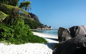 Big Stones And White Sand Beach Background