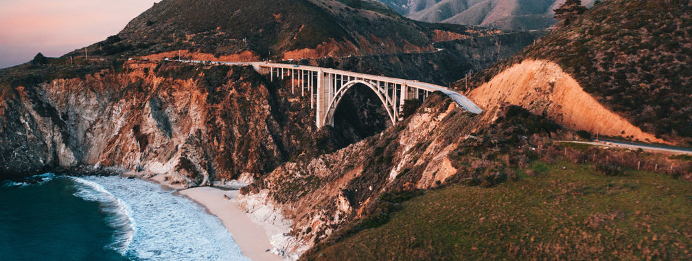 Bixby Creek Bridge over blue sea in Big Sur, California