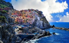 Colorful buildings in the Old Town at Levanto, Italy