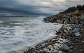 Crashing waves around Comox beach, Canada