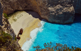 Fantastic cliff view on Shipwreck Beach, Greece