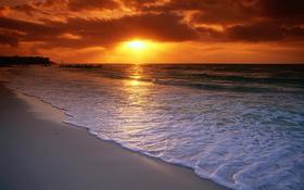 Good evening ocean side beach background