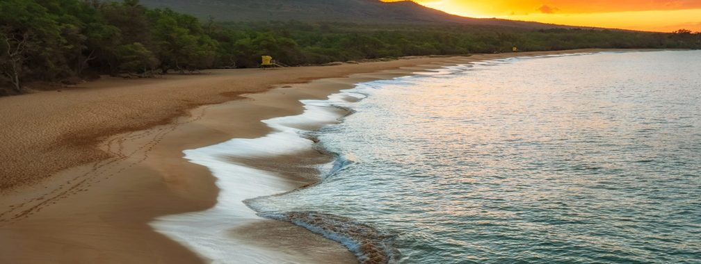 Green trees beside sea during sunset in Kihei, United States