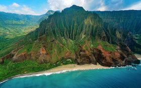 Helicopter view of one of the most amazing landscapes in Kālepa Ridge, Hawaii, USA