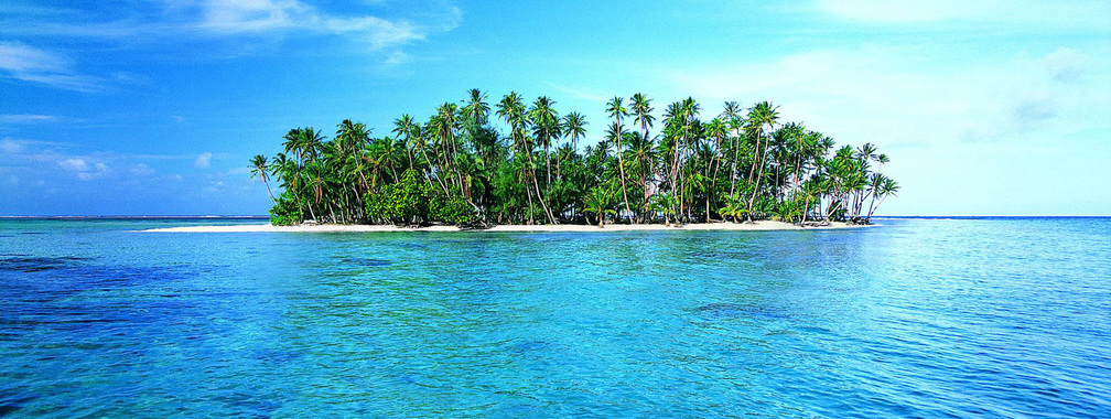 Lonely island with white sand and green tropic palms wallpaper