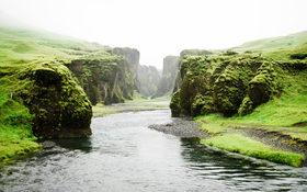 Magical river fog in Fjadrargljufur, Iceland