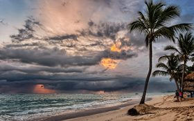 Magical stormy sunset on a Punta Cana beach, Dominican Republic
