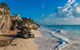 Mayan ruins overlooking the Caribbean Sea in Tulum, Mexico
