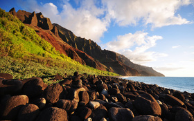 Na Pali Coast wallpaper, Kauai island, Hawaii