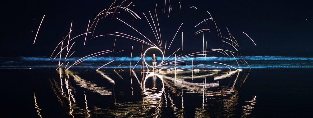 Night light trails in Santa Monica, United States