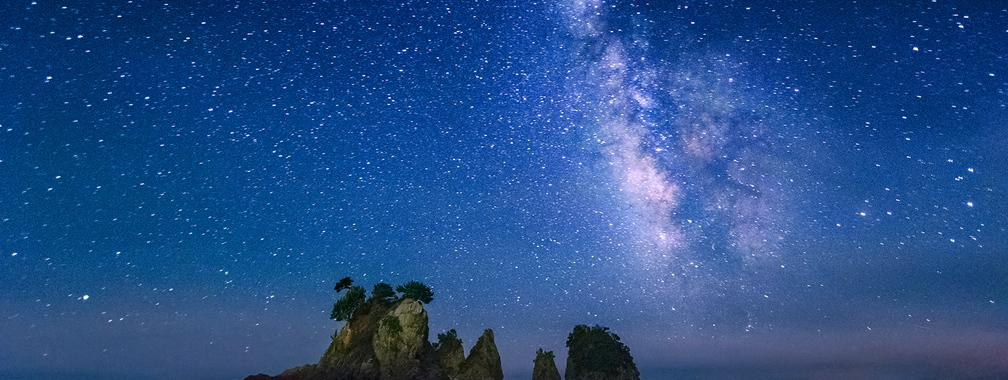 Night view on minokake rocks near the Izu Peninsula, Japan