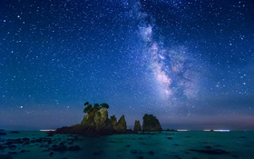 Night view on minokake rocks near the Izu Peninsula, Japan