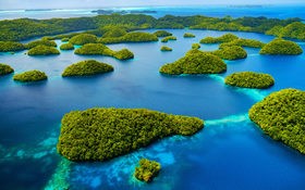 Paradise beaches and turquoise sea in Palau, Pacific Ocean
