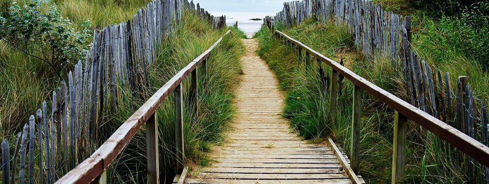 Path to the West Sands beach, UK