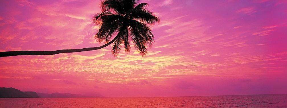 Rainbow sunset beach wallpaper