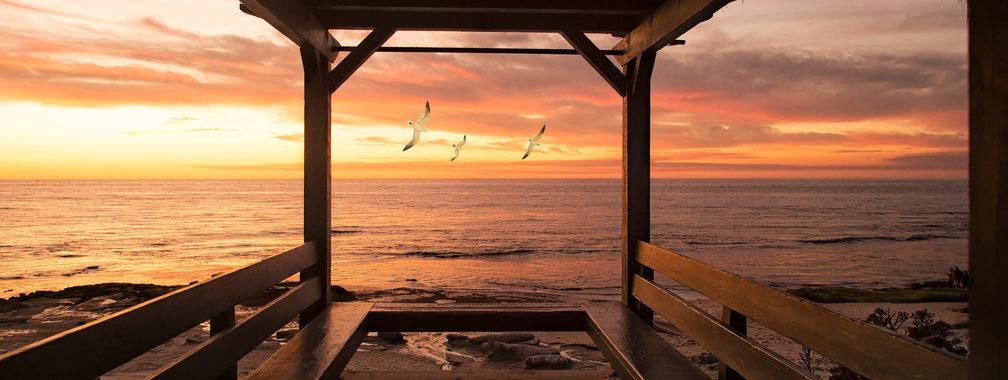 Romantic ocean sunset in San Diego, California, United States