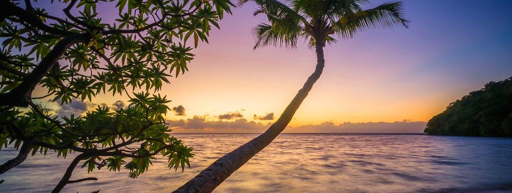 Romantic view on the sandy beach in Nananu-I-Ra island in Fiji