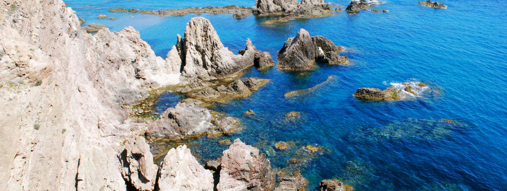 Spain rocky coast with blue sea in the Cabo de Gata Nijar natural park