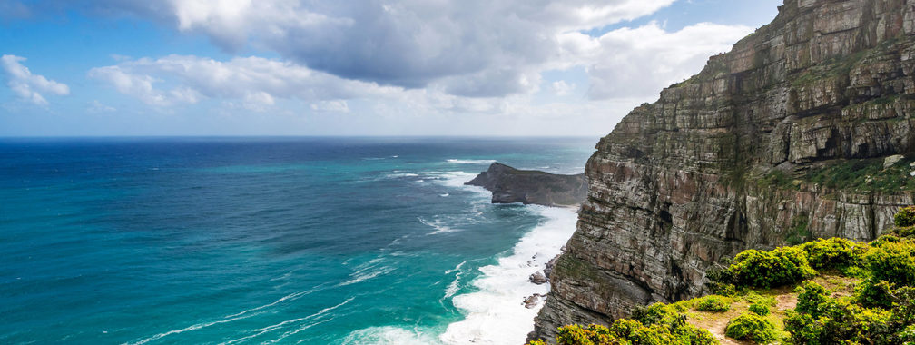Strong waves crashing at the Cape of Good Hope, South Africa