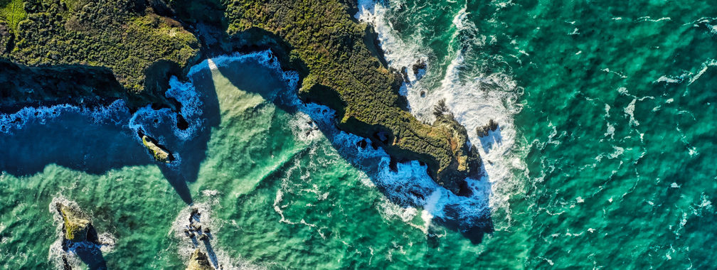 Stunning aerial view of the cliffs in Big Sur, CA, USA